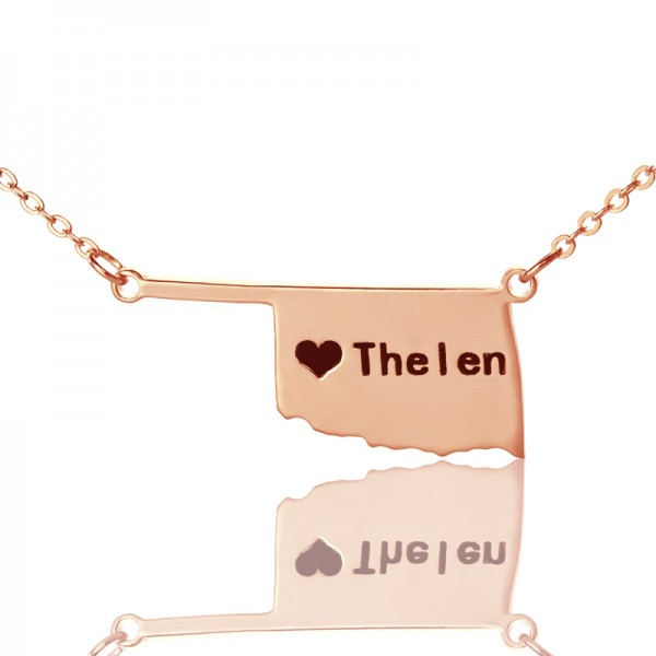 America Oklahoma State USA Map Necklace - Rose Gold