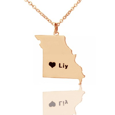 Custom Missouri State Shaped Necklaces - Rose Gold