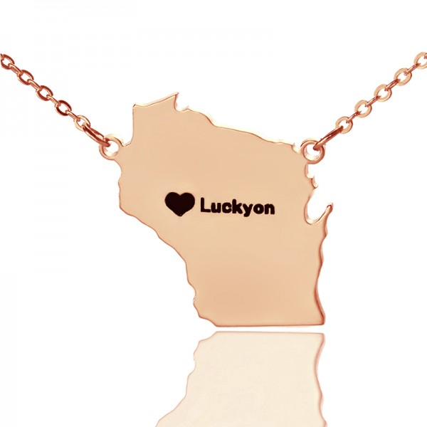 Custom Wisconsin State Shaped Necklaces - Rose Gold