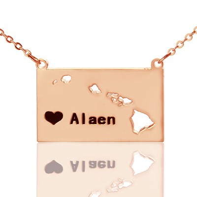 Custom Hawaii State Shaped Necklaces - Rose Gold