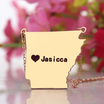 Custom AR State USA Map Necklace - Rose Gold
