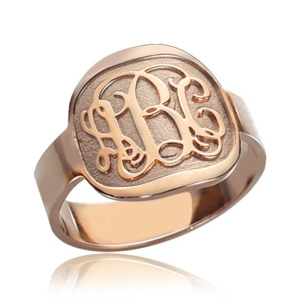 Engraved Round Monogram Ring Rose Gold