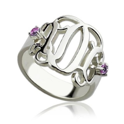 Birthstone Monogram Solid White Gold Rings For Women