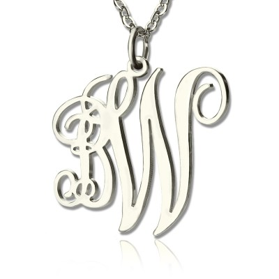 Solid White Gold 2 Initial Monogram Necklace