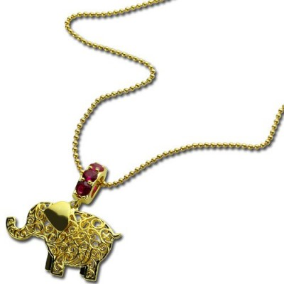 Personalised Elephant Necklace with Name Birthstone - 18CT Gold
