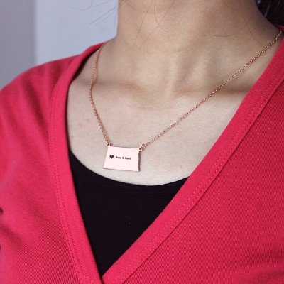 Personalised ND State USA Map Necklace - Rose Gold