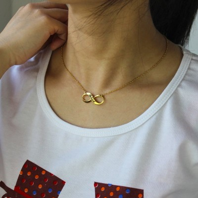 Infinity Symbol Jewellery Necklace Engraved Name - 18CT Gold