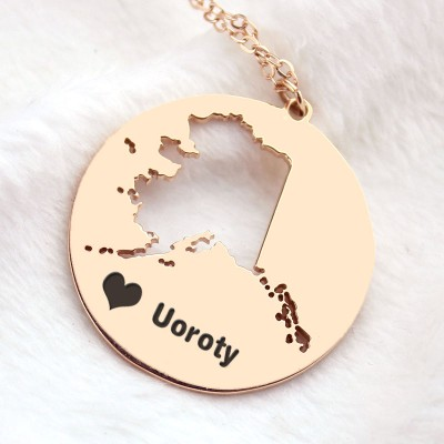 Custom Alaska Disc State Necklaces - Rose Gold