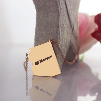 Custom Arizona State Shaped Necklaces - Rose Gold