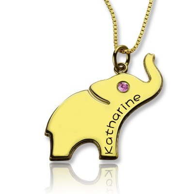 Elephant Lucky Charm Necklace Engraved Name - 18CT Gold