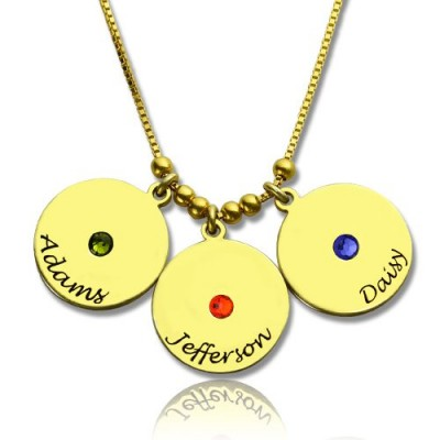 Mother's Disc and Birthstone Charm Necklace - 18CT Gold