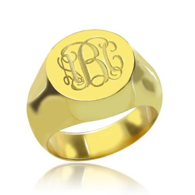 Engraved Circle Monogram Signet Ring - 18CT Gold