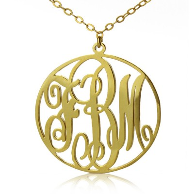 Solid Gold Vine Font Circle Initial Monogram Necklace-18ct