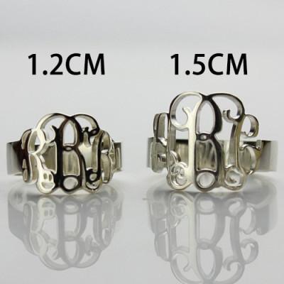 Personalised 18CT White Gold Monogram Ring