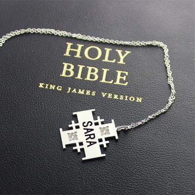 Solid Gold Jerusalem Cross Name Name Necklace