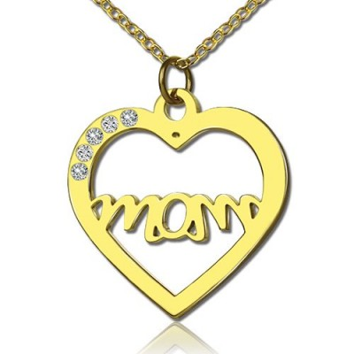 Mothers Heart Necklace With Birthstone - 18CT Gold
