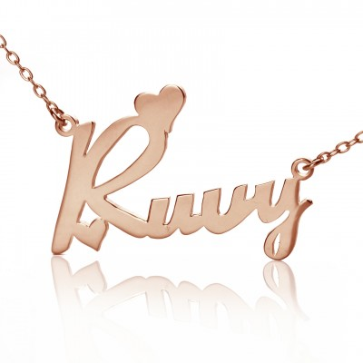 Personalised 18CT Rose Gold Fiolex Girls Fonts Heart Name Necklace