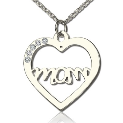 Solid Gold Mothers Birthstone Heart Necklace