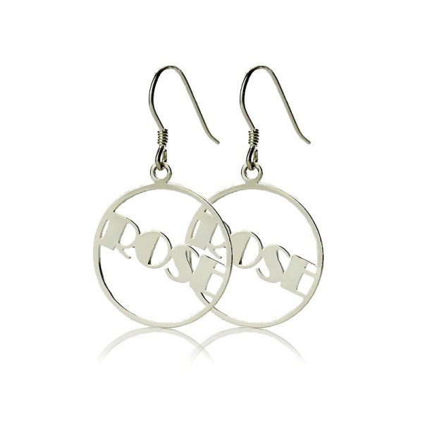 18CT White Gold Broadway Font Circle Name Earrings