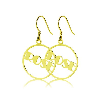 Gold Broadway Font Circle Name Earrings