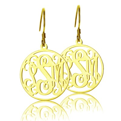Circle Monogram Initial Earrings - Solid Gold