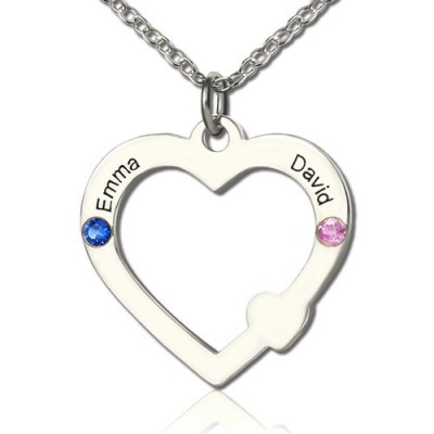Solid White Gold Double Name Open Heart Necklace with Birthstone