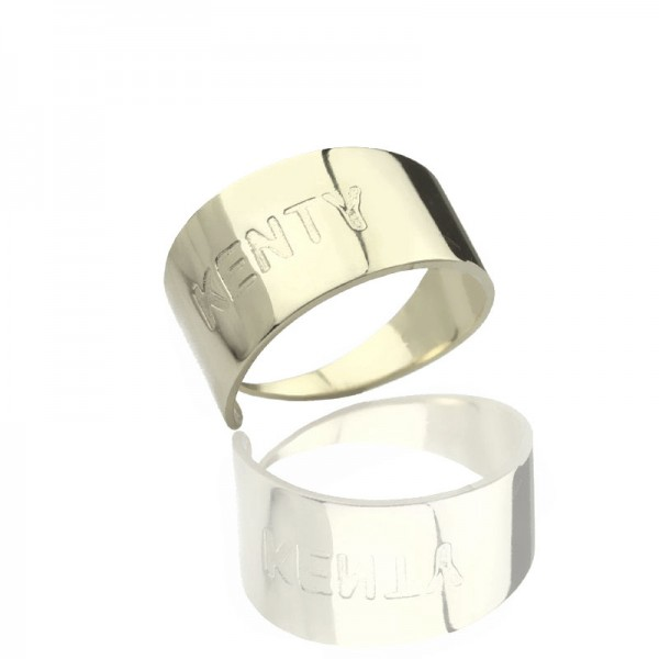 Engraved Name Cuff Solid White Gold Rings