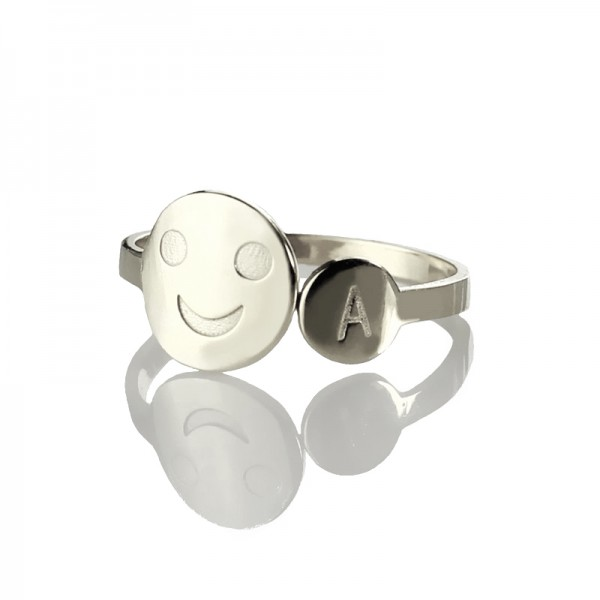 Smile Solid White Gold Ring with Initial