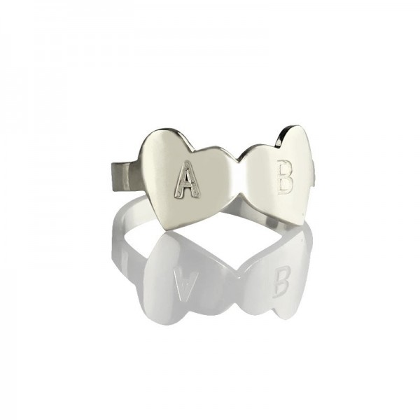 Double Heart Solid Gold Ring Engraved Letter