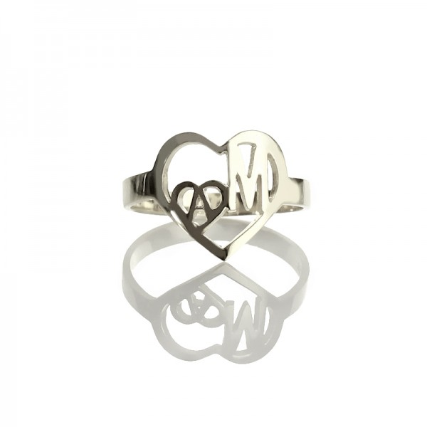 Heart in Heart Double Initials Solid Gold Ring