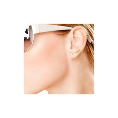 18K Gold Name Stud Earring