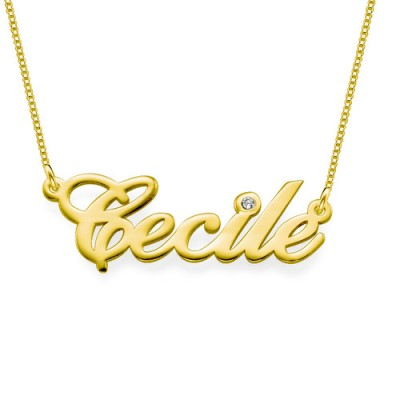 18CT Gold and Diamond Name Necklace