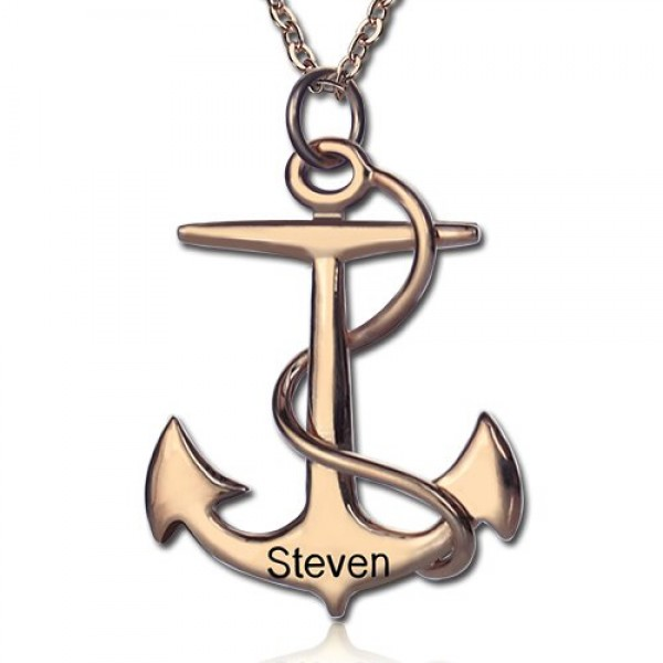 Anchor Name Necklace Charms Engraved Your Name 18CT Rose Gold