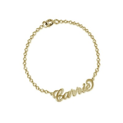18CT Yellow Gold Carrie Name Bracelet Name Chain