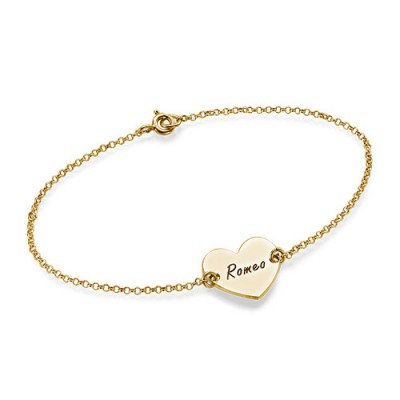18CT Gold Engraved Couples Heart Bracelet/Anklet