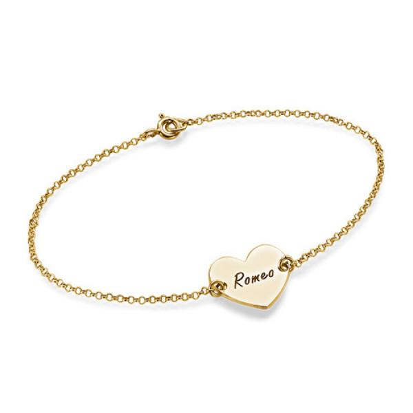 18CT Gold Engraved Couples Heart Bracelet/Anklet