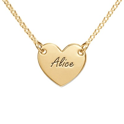 18CT Gold Heart Necklace with Engraving