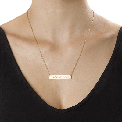 18CT Gold Icon Bar Necklace