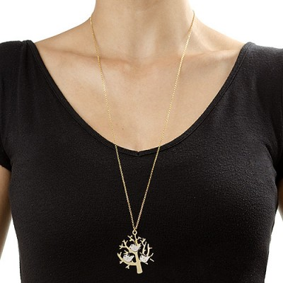 Gold Tree Name Necklace with Initial Birds