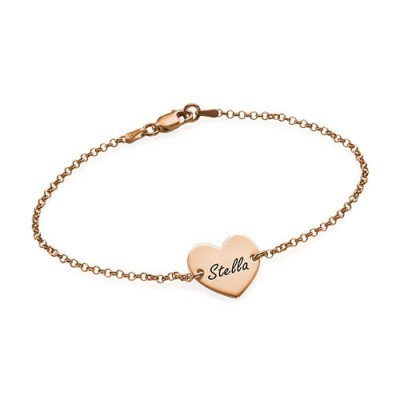 18CT Rose Gold Engraved Heart Couples Bracelet/Anklet