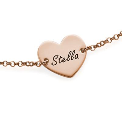 18CT Rose Gold Engraved Heart Couples Bracelet/Anklet