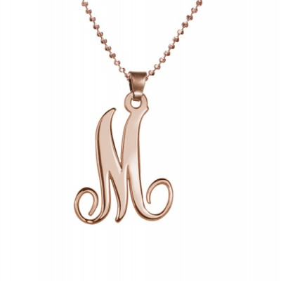 18CT Rose Gold Single Initial Necklace