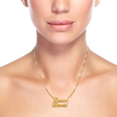 18CT Gold Two Names Pendant Necklace