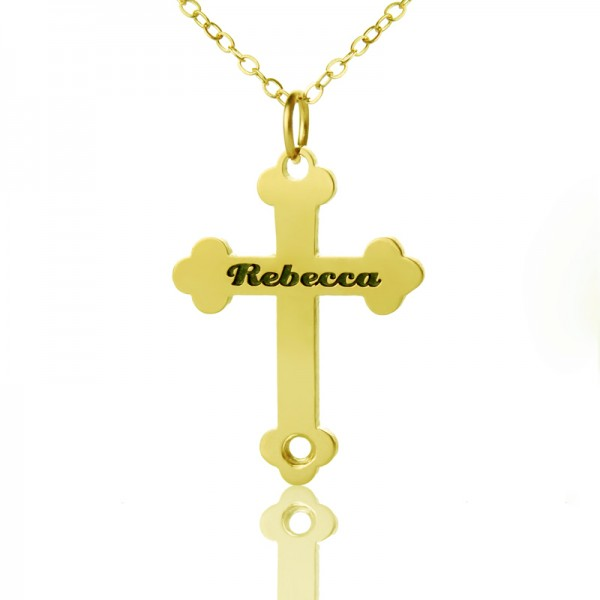 18CT Gold Rebecca Font Cross Name Name Necklace