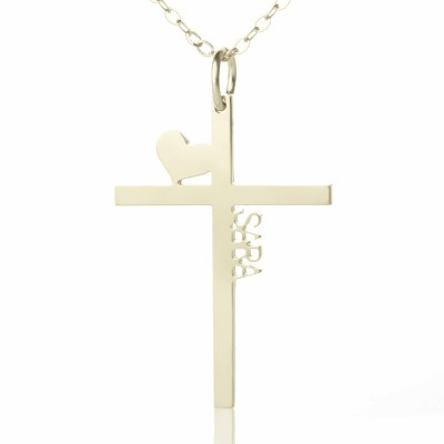 Solid White Gold Cross Name Necklace with Heart