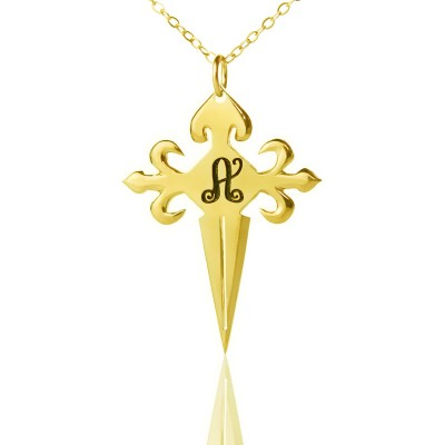 Gold St James Cross Initial Name Necklace