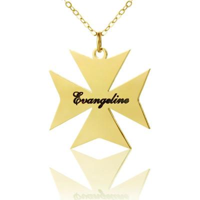 Gold Maltese Cross Name Name Necklace