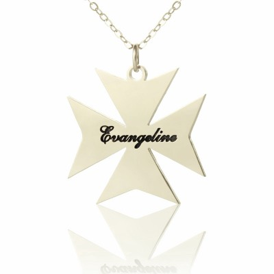 Solid Gold Maltese Cross Name Name Necklace