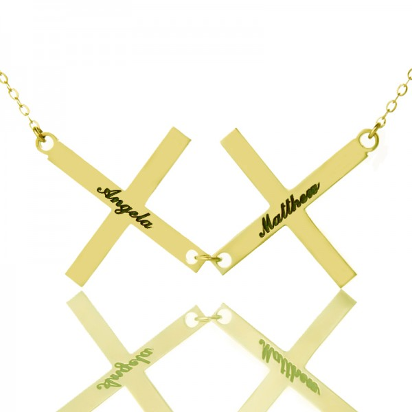 Gold Greece Double Cross Name Name Necklace