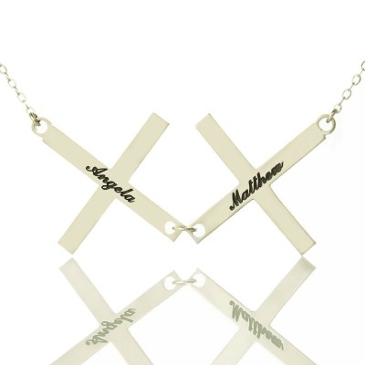 Solid Gold Greece Double Cross Name Name Necklace